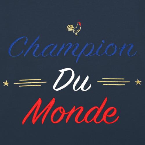 Embroidery Navy Champion Du Monde Man's T-shirt
