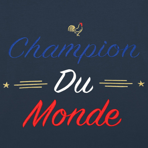 Embroidery Navy Champion Du Monde Woman T-shirt