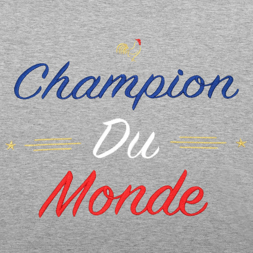 Embroidery Grey Champion Du Monde Woman's Sweat