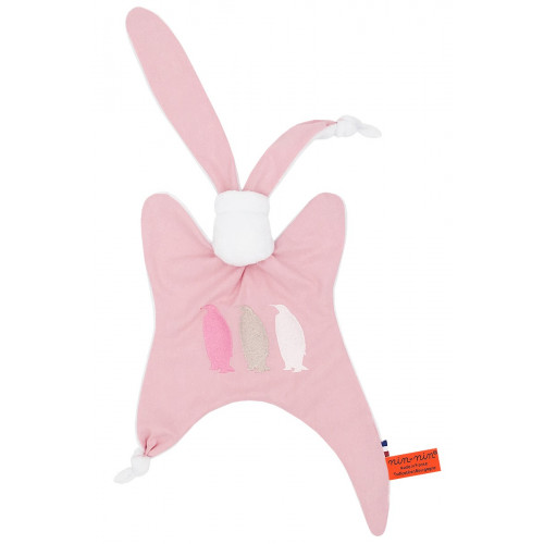 Personalised baby comforter The Pengouin Pink. Made in France