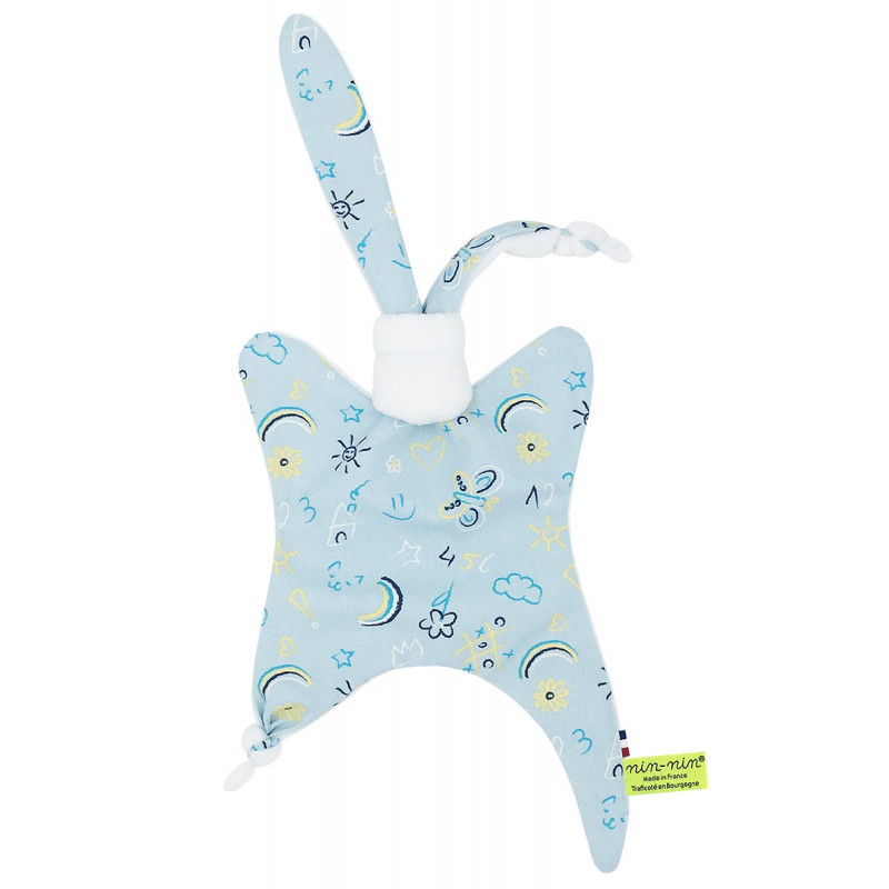 Personalised baby comforter Le Phospho Bleu. Made in France