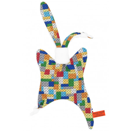 Personalised baby comforter Lego. Made in France
