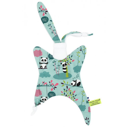 Personalised baby comforter Le Panda. Original blanket made in France.