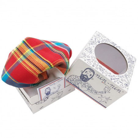 Cube baby comforter Le Madras. Made in France