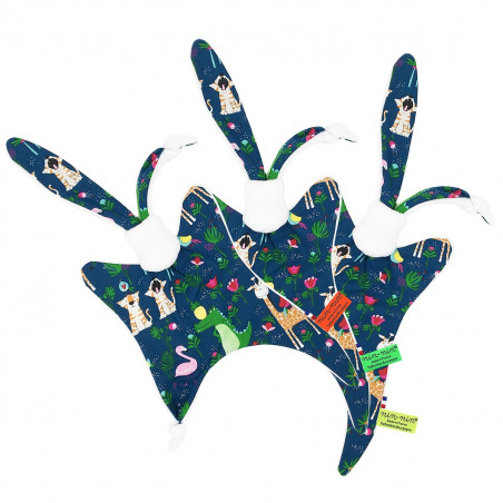 Labels personalised baby comforter with flamingos, crocodiles, tigers, girafs and birds playing all together! Made in France