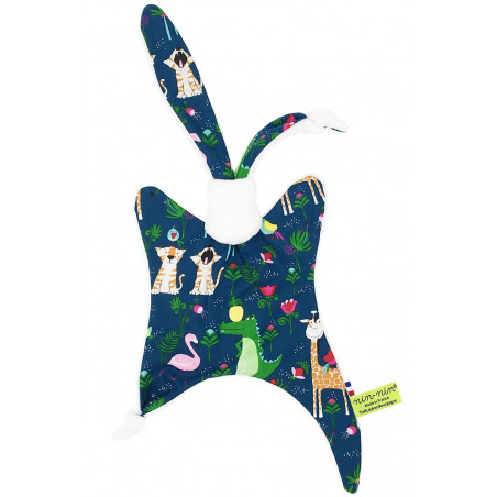 Personalised baby comforter with flamingos, crocodiles, tigers, girafs and birds playing all together! Made in France