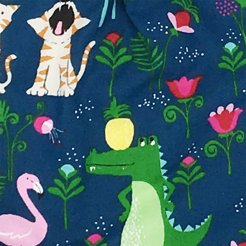 Fabric personalised baby comforter with flamingos, crocodiles, tigers, girafs and birds playing all together! Made in France