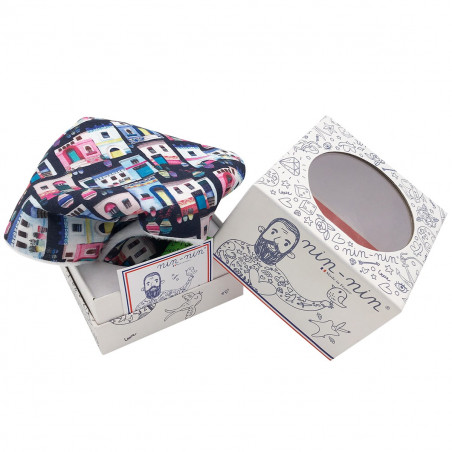 Cube personalised baby comforter Le Santorin. Original soft toy made in France. Nin-Nin