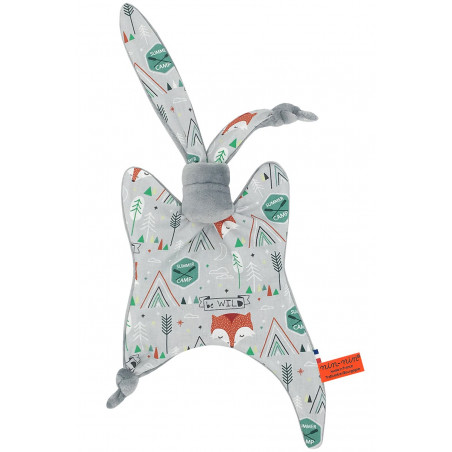 Personalised baby comforter fox. Original soft toy made in France. French brand Nin-Nin