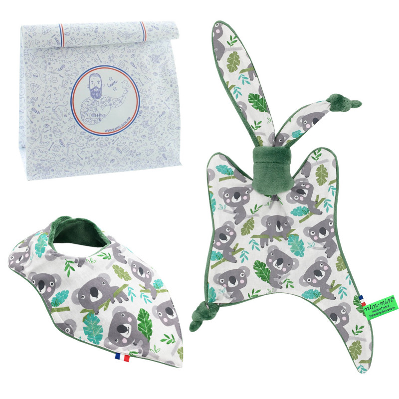 Personalised birth gift baby comforter and bandana bib Koala. French manufacturer Nin-Nin.
