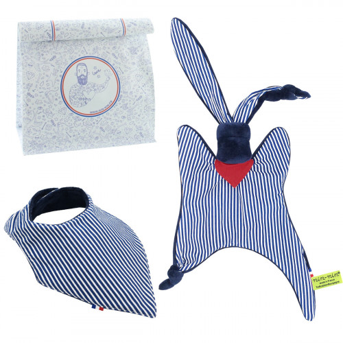 Birth gift baby comforter and bandana bib Jean Paul Gaultier. Made in France. Nin-Nin
