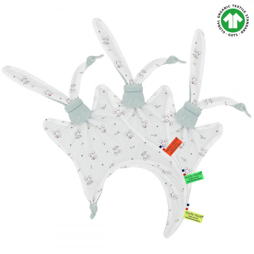 Labels organic baby comforter Le Souris Verte. Gots soft toy mad ein France. Nin-Nin
