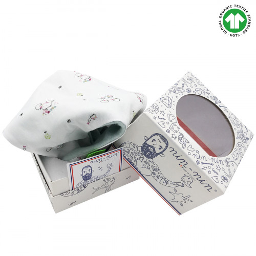 Packaging organic baby comforter Le Souris Verte. Gots soft toy mad ein France. Nin-Nin