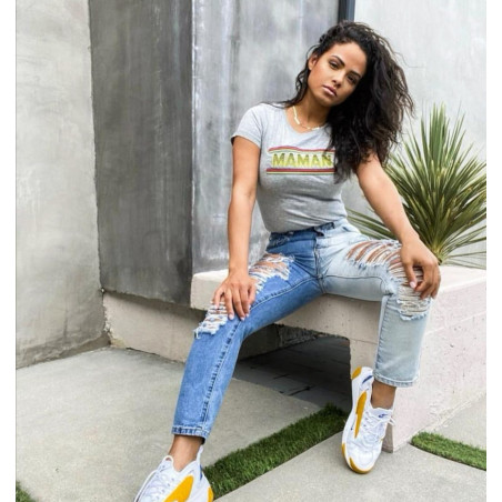 Christina Milian with t-shirt Maman. Made in France