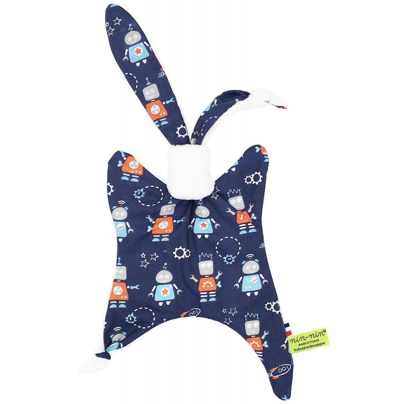 Personalised original baby comforter Le Robot. French manufacturer Nin-Nin