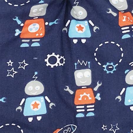 Fabric personalised original baby comforter Le Robot. French manufacturer Nin-Nin