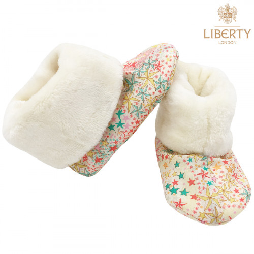 Bootee Poppy Liberty of London. Original baby birth gift made in France. Nin-Nin