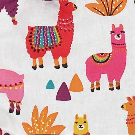 Fabric personalised baby comforter with small multicolor llamas. Original birth gift made in France. Nin-Nin