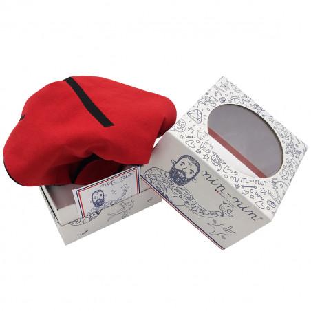 Packaging baby comforter Le Braqueur. Binge-watch easy La Casa de Papel. Personalised soft toy made in France. Nin-Nin