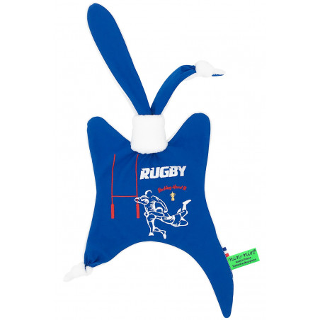 Original baby comforter The Rugby. Personalised soft toy made in France. Nin-Nin Brand
