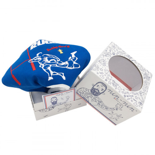 Original packaging baby comforter The Rugby. Personalised soft toy made in France. Nin-Nin Brand