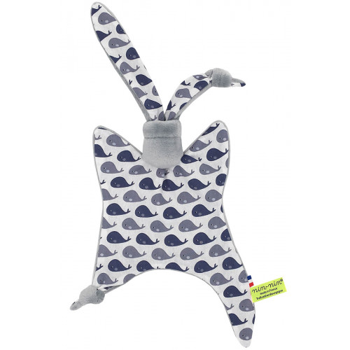 Original baby comforter grey whale. Personalised soft toy made in France. Nin-Nin Brand