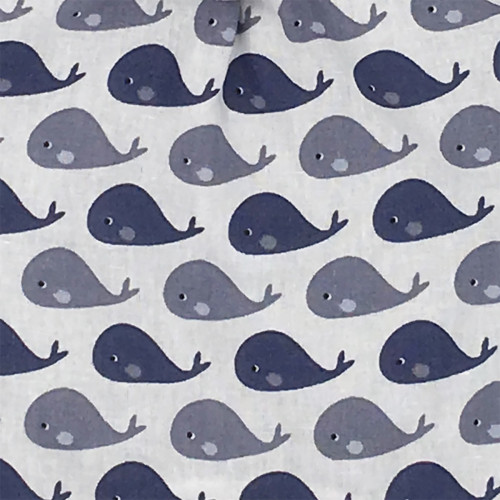 Fabric original baby comforter grey whale. Personalised soft toy made in France. Nin-Nin Brand