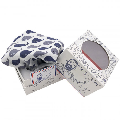 Original packaging baby comforter grey whale. Personalised soft toy made in France. Nin-Nin Brand