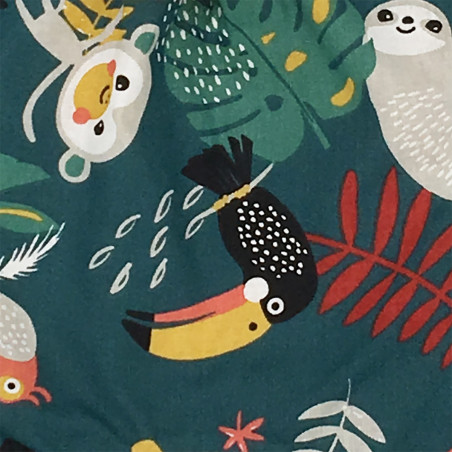 Fabric personalised baby blanket Le Tropical curry. Soft toy made in France. Nin-Nin