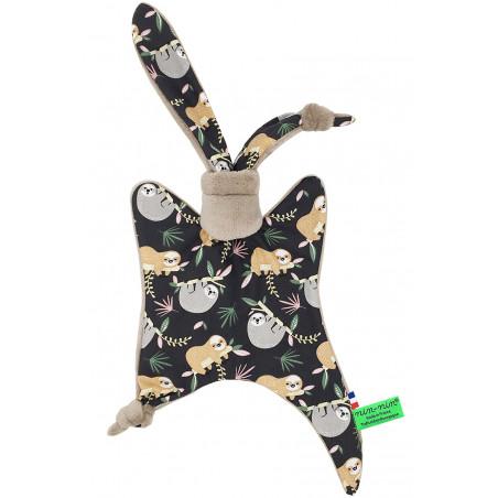 Personalised baby blanket Le Paresseux camel. Original soft toy made in France. Nin-Nin