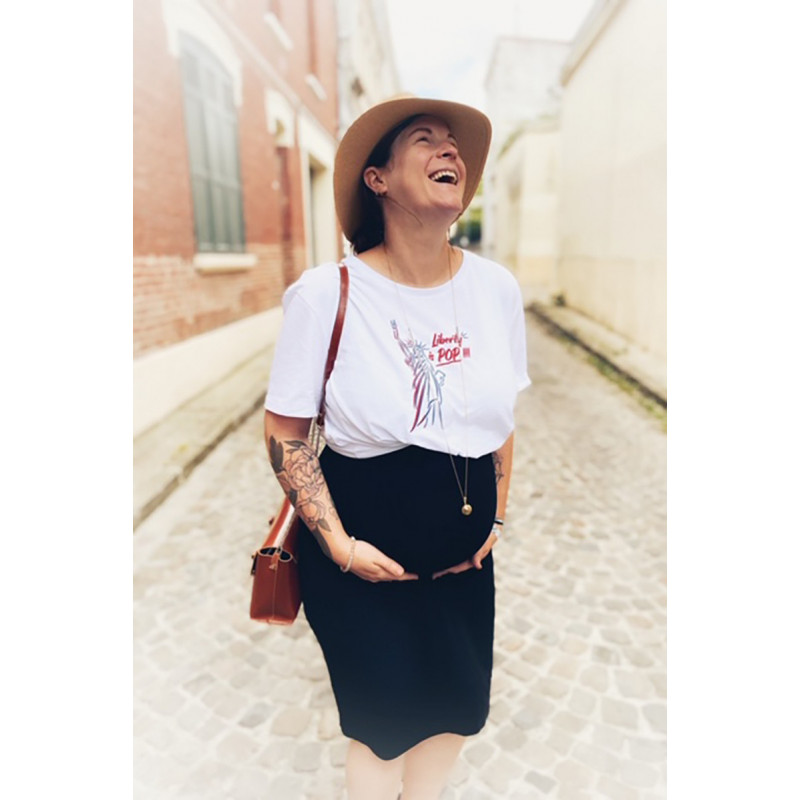 White 'Liberty is pop' woman's t-shirt. Made in France