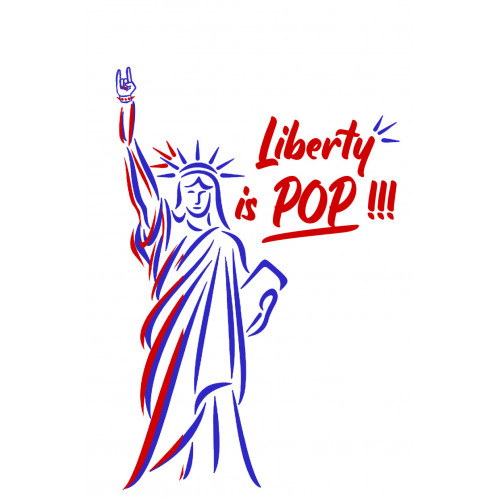 Embroidery 'Liberty is pop'. Made in France