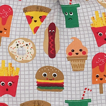 Fabric personalised blanket Le Junk Food. Original and made in France. Nin-Nin brand
