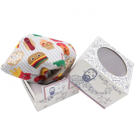 Packaging personalised blanket Le Junk Food. Original and made in France. Nin-Nin brand