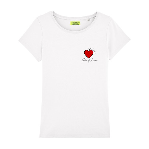 WHITE 'FULL FOR LOVE' WOMAN'S T-SHIRT. Made in France