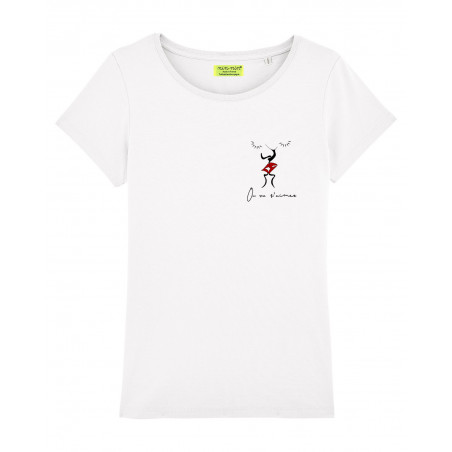 WHITE 'ON VA S'AIMER' WOMAN'S T-SHIRT. MADE IN FRANCE