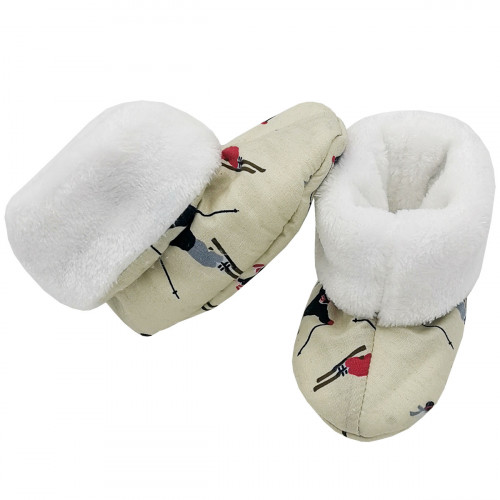 Bootee Skieur for baby. Original and cool birth gift. Manufactured in France with love.