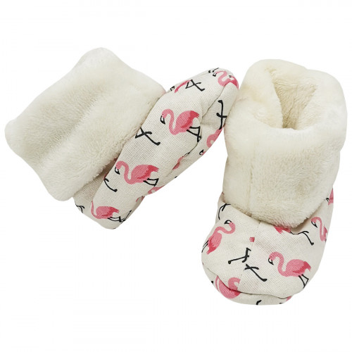 Bootee Flamant Rose for baby. Original and cool birth gift. Manufactured in France with love.