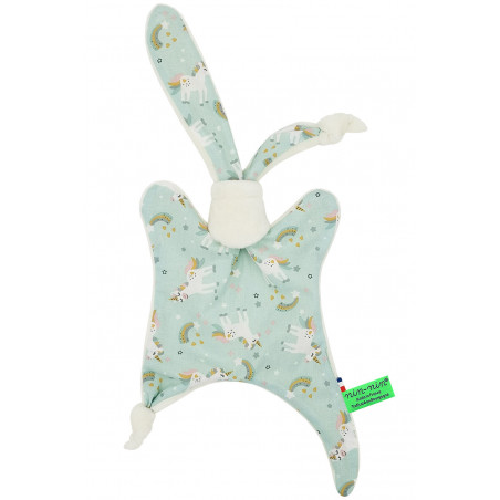 Original baby comforter unicorn rainbow. Personalised soft toy made in France. Nin-Nin Brand