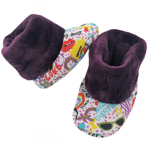 Bootee Girl Power for baby. Original and cool birth gift. Manufactured in France with love.