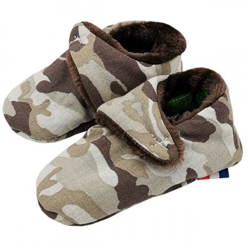 Camouflage low slippers. Birth gift made in France