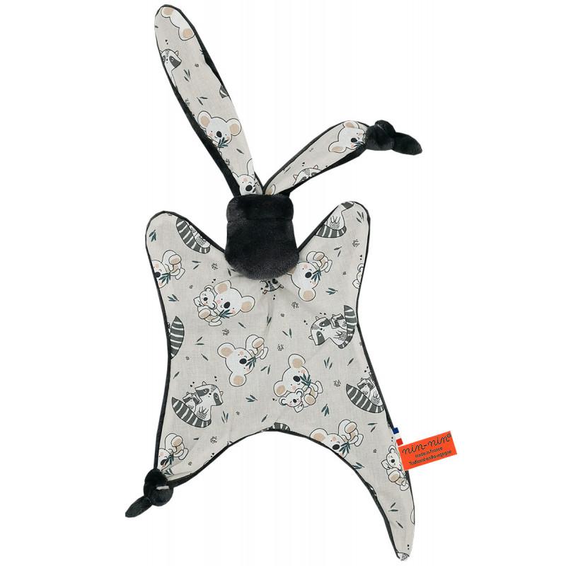 Original baby comforter raccoon and koala. Personalised soft toy made in France. Nin-Nin Brand