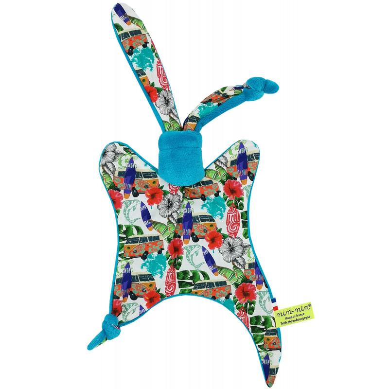 Original baby comforter hawaï, surf and van. Personalised soft toy made in France. Nin-Nin Brand
