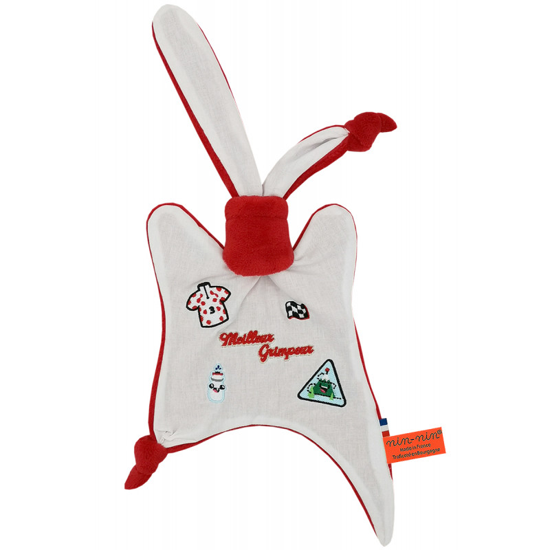 Doudou Le Grimpeur du Tour 2021 polka dot jersey. Personalized birth gift made in France. Nin-Nin comforter