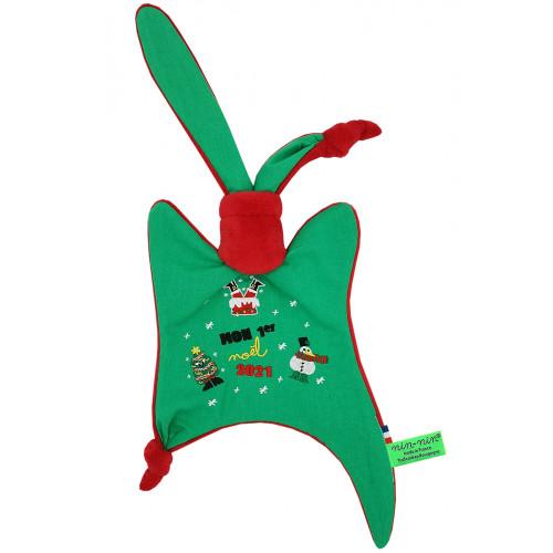 Baby comforter Le Moche de Noël. Customizable Christmas gift made in France. Nin-Nin brand